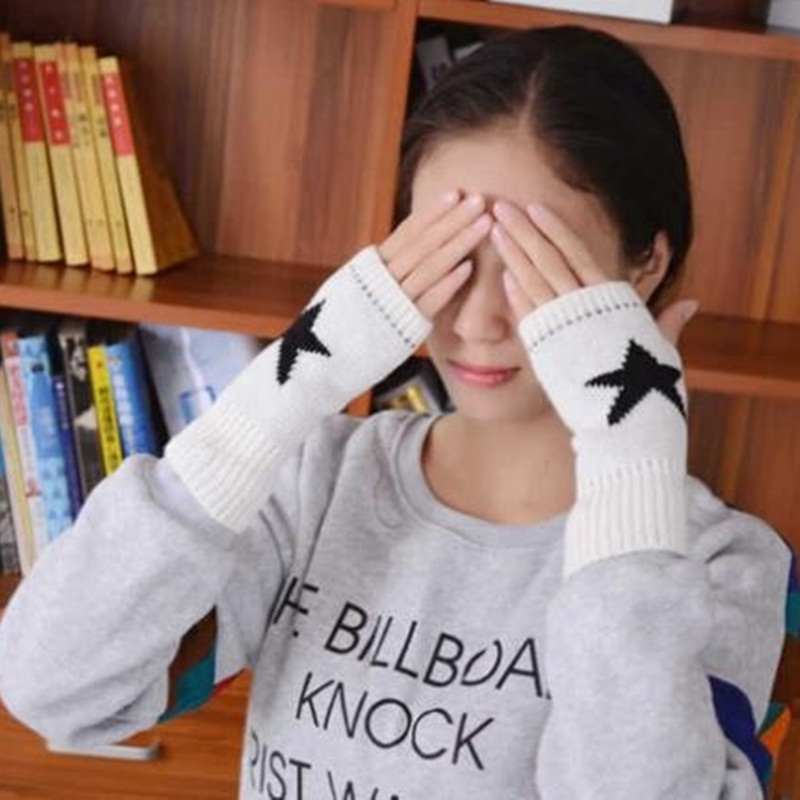 OMH venta al por mayor guantes de algodón para hombres y mujeres amantes guantes sin dedos de moda de color blanco y negro para chicas en invierno - 5