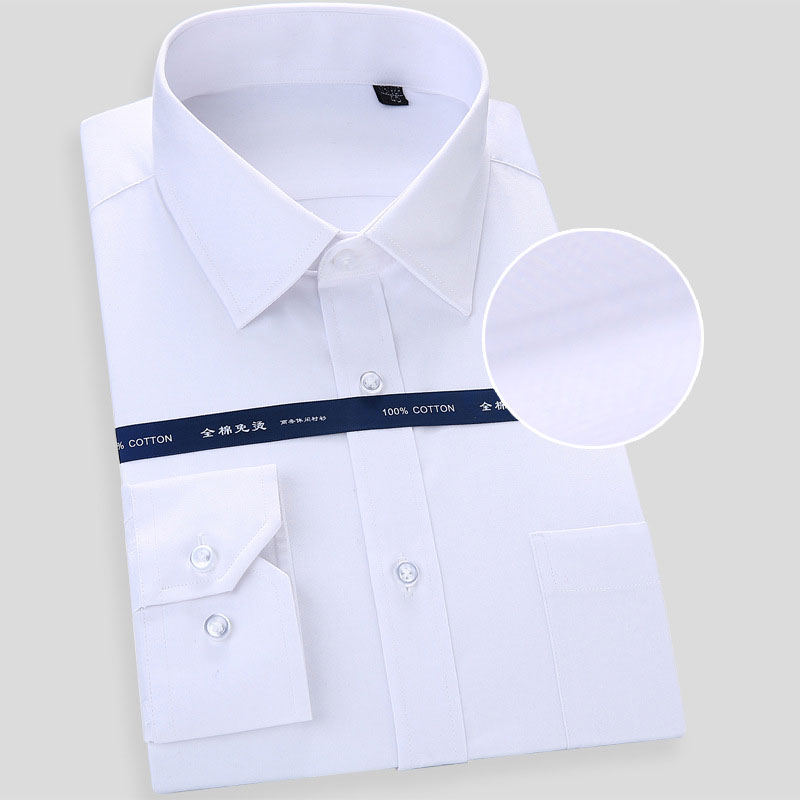Men's Regular Fit 100% Cotton Wrinkle Free Textured Tuxedo Shirt Short Sleeve High Quality Chemise Homme Non-Iron Formal Shirt
