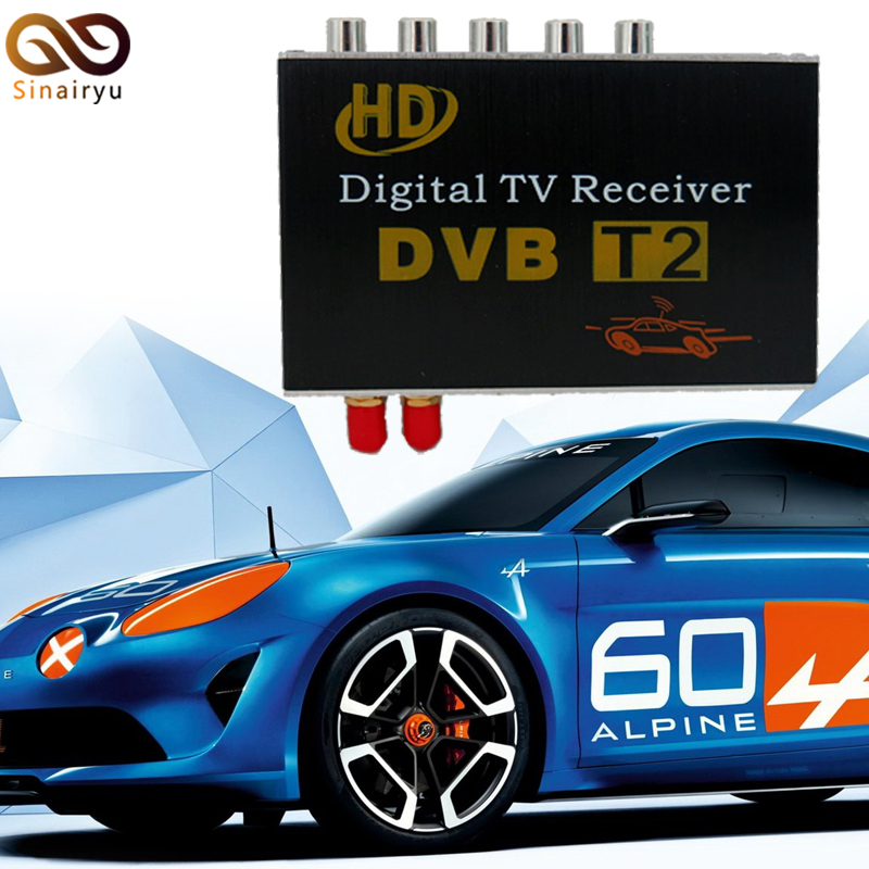 Sinairyu High Speed Car DVB-T2 TV Box Digital TV Receiver with Dual Tuners for Russia Thailand Indonesia Singapore Colombia 1080p mobile dvb t2 car digital tv receiver real 2 antenna speed up to 160 180km h dvb t2 car tv tuner mpeg4 sd hd
