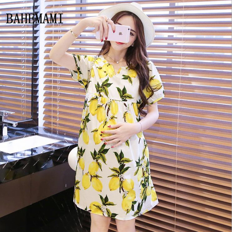 BAHEMAMI Breastfeeding Dresses V-Neck print Nursing Clothes Pregnant Women Maternity Clothes summer 2018 Maternity dress new
