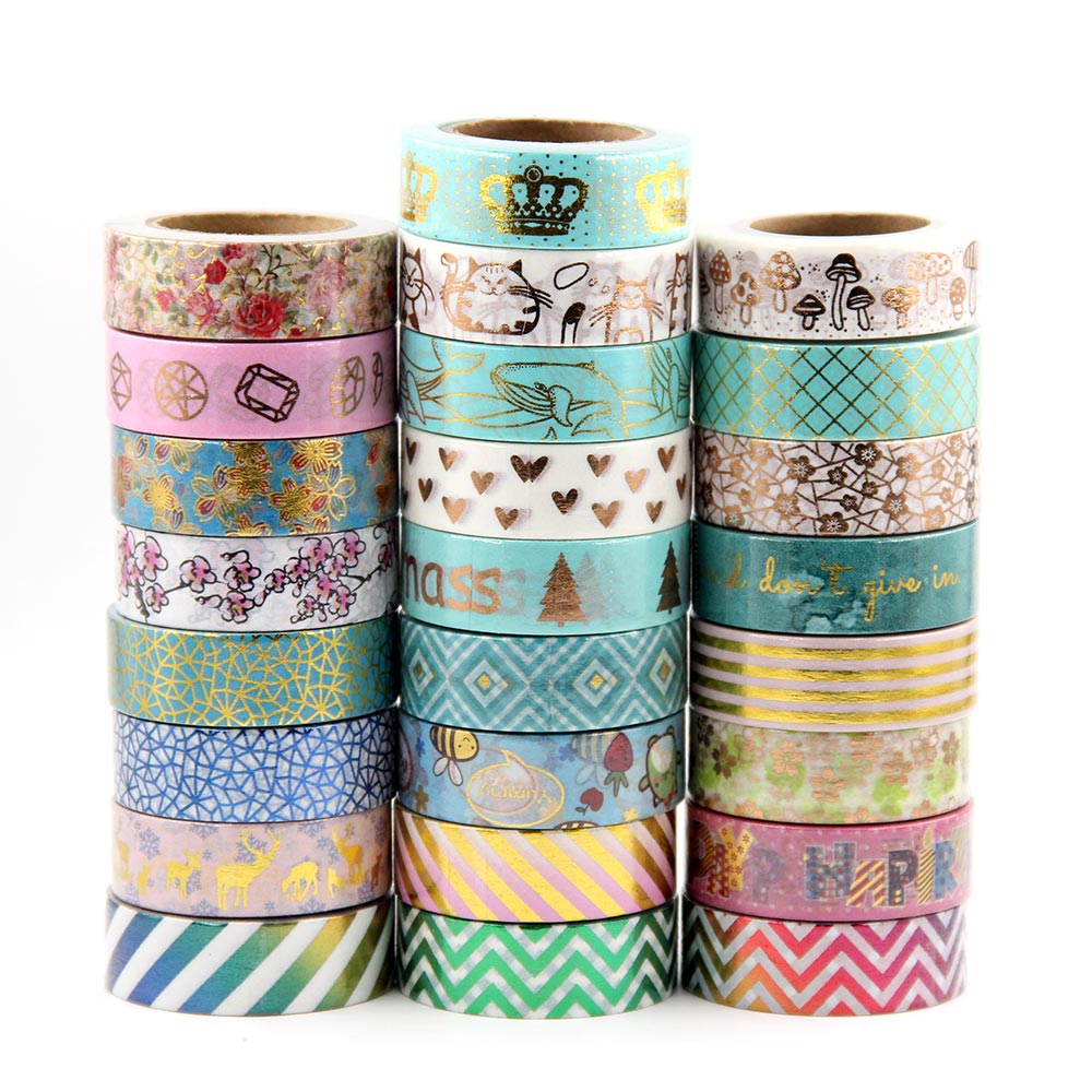 Image 5 - Sale price Randomly mix 30 rolls lot(set/kit) Top quality foil washi tape masking Japanese Washi foil tape 15mm*10m Top quality-in Office Adhesive Tape from Office & School Supplies