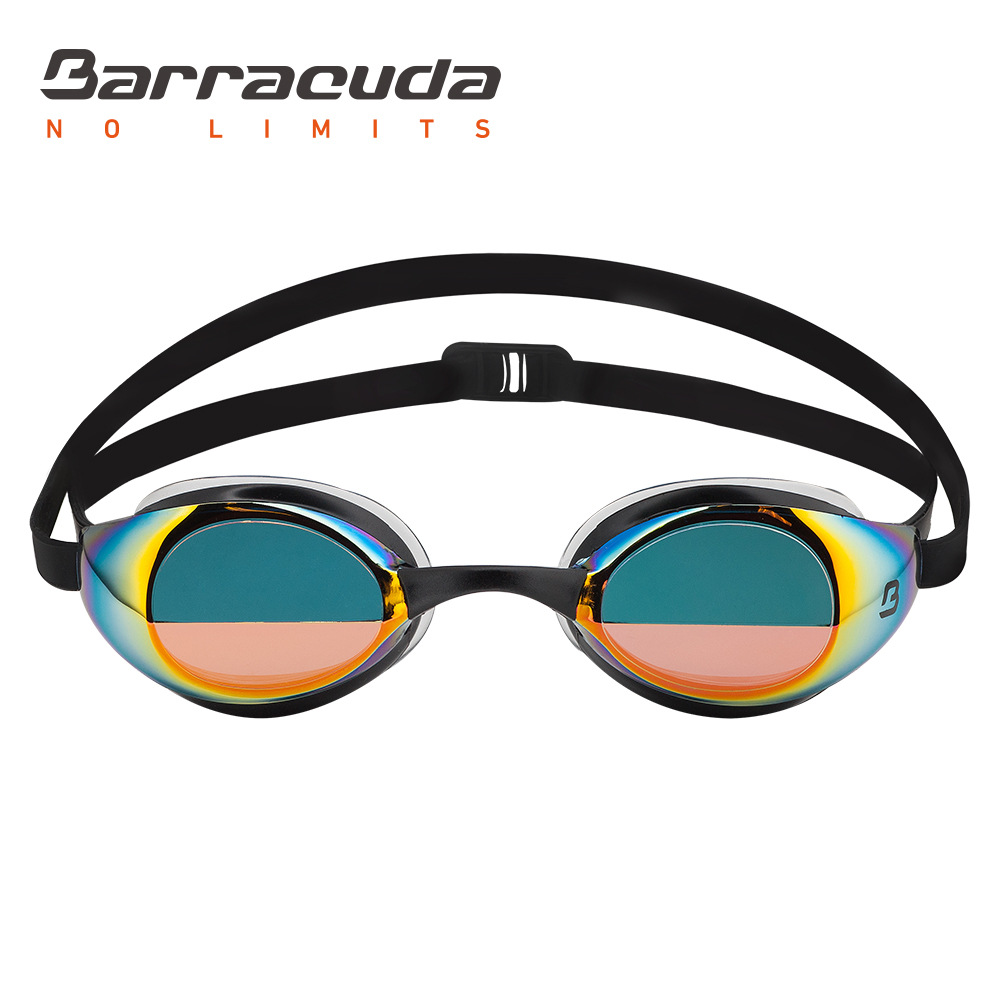 Barracuda Swimming Goggle BOLT MIRROR Split Mirror Lenses Patented TriFushion System Anti-fog UV Protection for Adults #90210 plastic acrylic parabolic mirror concave mirror focus uv protection sturdy durable reflective