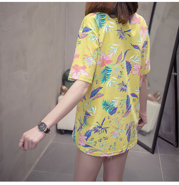 Nkandby Flower Print Summer T-shirt For Woman Fashion Casual Short sleeve Ladies Tshirt 2019 New Bamboo Plus size Basic Tops 4XL 25