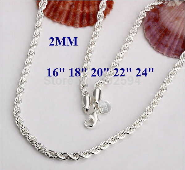 16-24INCHES Free shipping Beautiful fashion Elegant silver color women men 2MM chain cute Rope Necklace Can for pendant N226