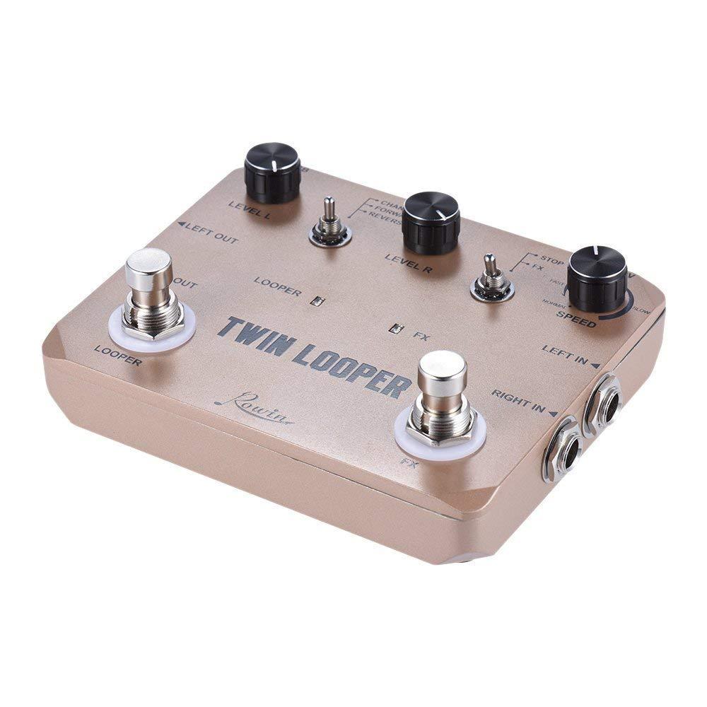 Rowin Double Boucleur Station Électrique Guitare Pédale D'effet Loop Station pour les Guitaristes D'or - 3
