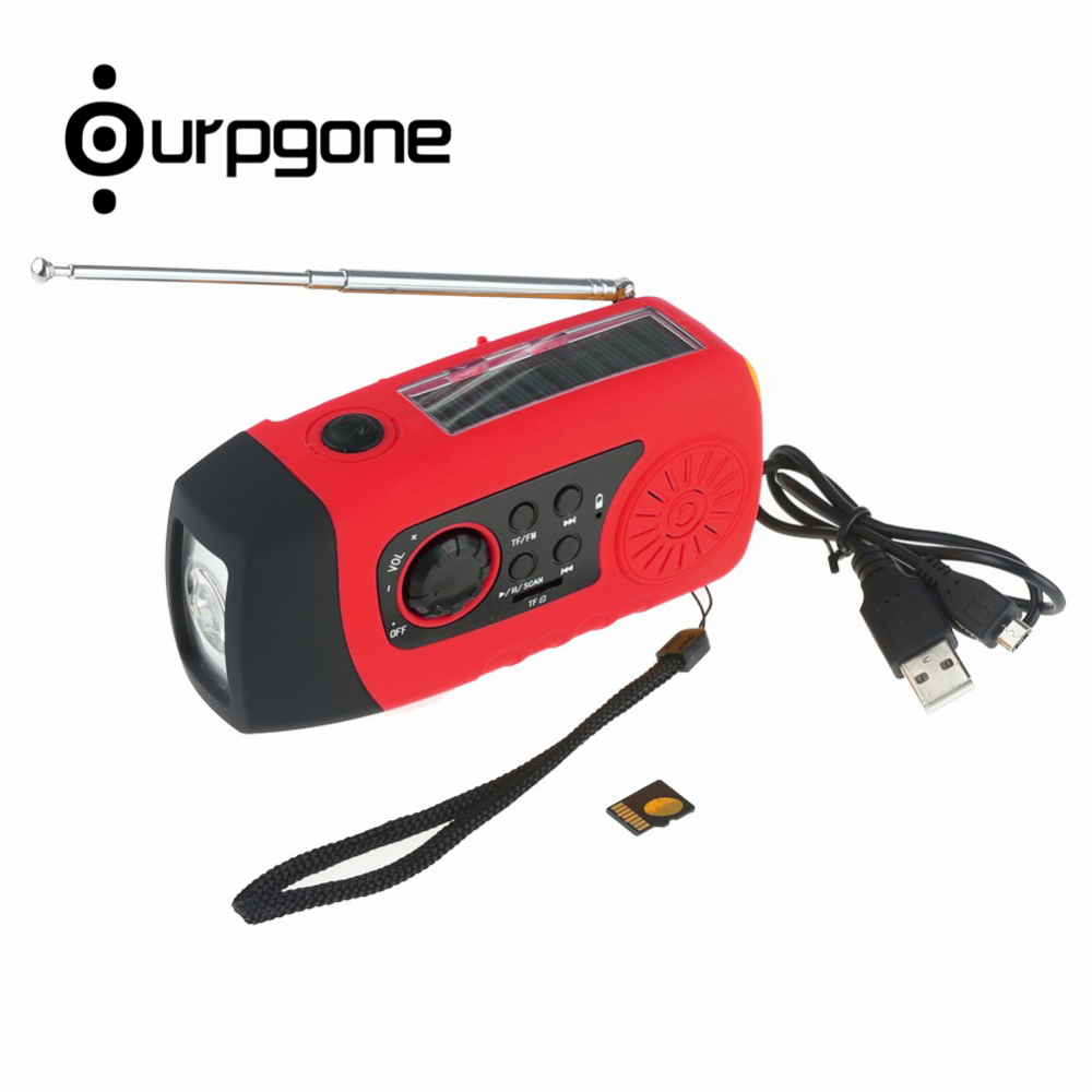 Ourpgone New Arrive 1*Outdoor Camping Tools Red Solar Powered Radio Hand Crank FM LED Flashlight Phone Charger Free shipping! rd 310 1 3 lcd hand cranked dynamo 5 led flashlight w alarm function fm radio white grey