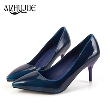 dc37dd8e7e03 Women Pumps 2018 New Spring Autumn Fashion Black Blue Green Glossy Nude  High Heels Lady Formal