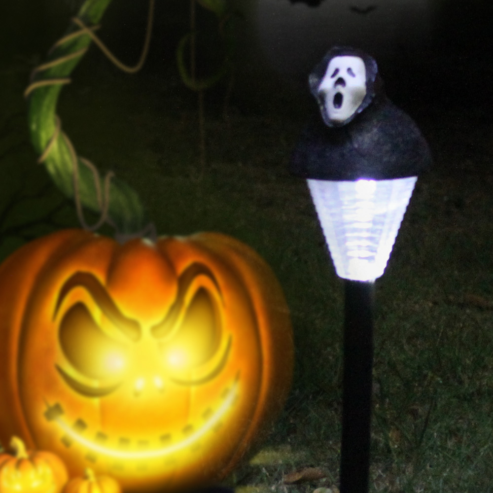 2 Packed Halloween Solar Lawn Light Pumpkin/Ghost Outdoor Landscape Decorative Festive Lamp for