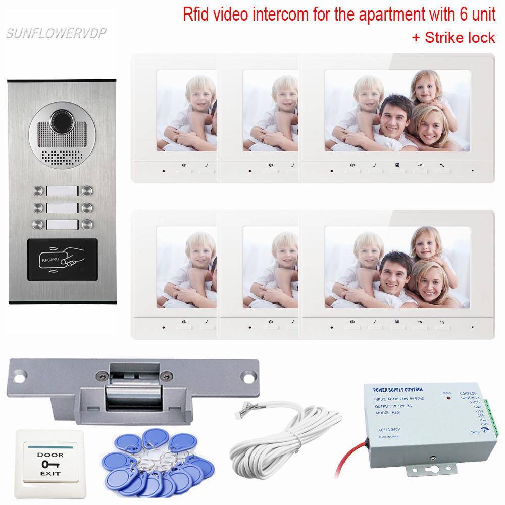 For 6 Apartment Videodoorphone With Electric Lock And Camera Video On-Door Rfid Ring Video Doorbell 7