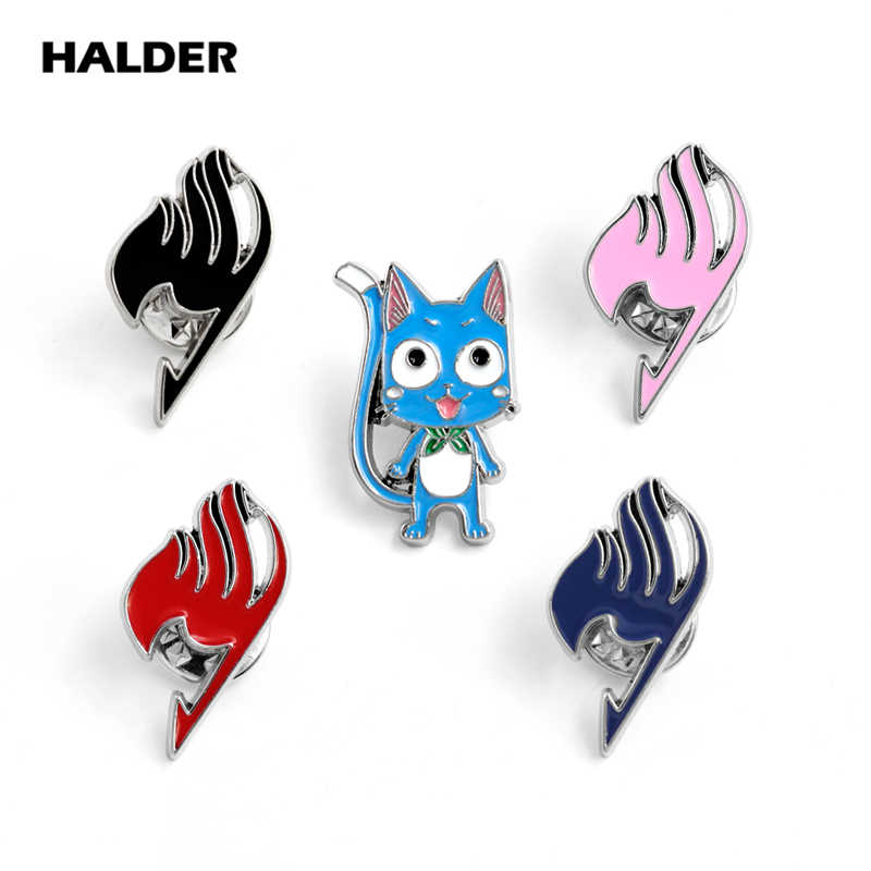BR0056 HALDER Anime FAIRY TAIL Happy Cat Guild Logo Sign Brooches Enamel Lapel pin Clothes backpack Clothing Badge Denim Jewelry