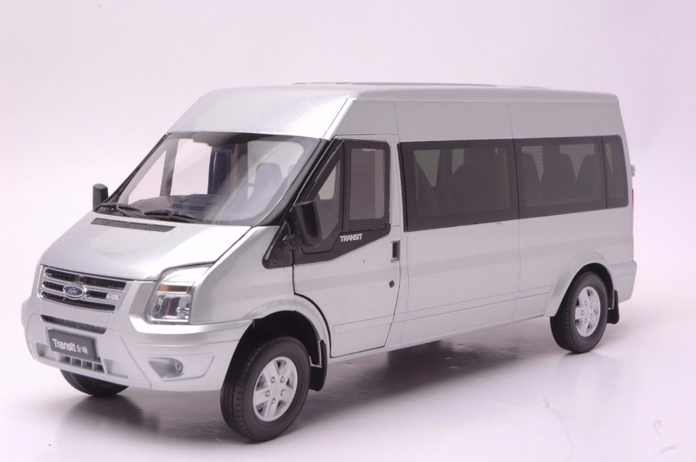 1:18 Diecast Model for Ford Transit Silver MPV Alloy Toy Car Miniature Collection Gift Van 2015 new odyssey mpv origin 1 18 car model alloy fifth generation pearl white business car toy collection discast gift
