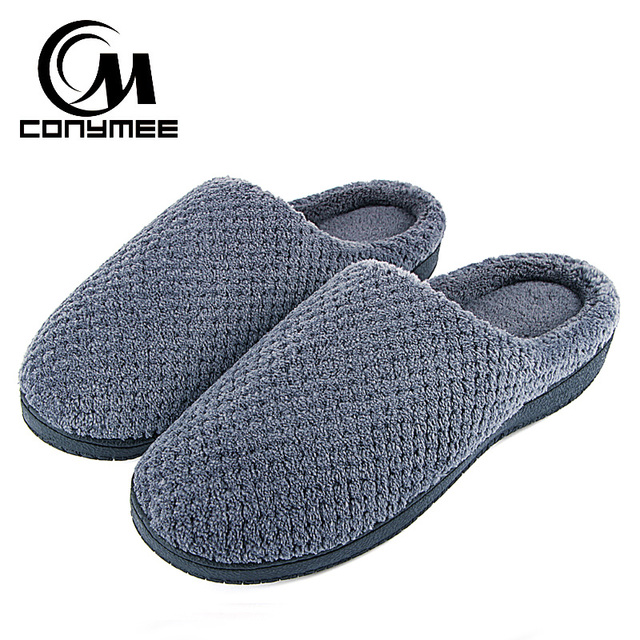35ad45e16 CONYMEE Winter Home Slippers Men Casual Indoor Shoes Plus Size Warm Plush  Slippers Pantufa For Mens Floor House Cotton Slipper