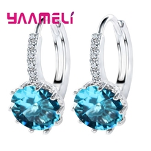 Купить с кэшбэком YAAMELI Big Sale 925 Sterling Silver Loop Hoop Earrings Candy Color Cubic Zircon Charms Women Jewelry Wedding Accessory Brincos