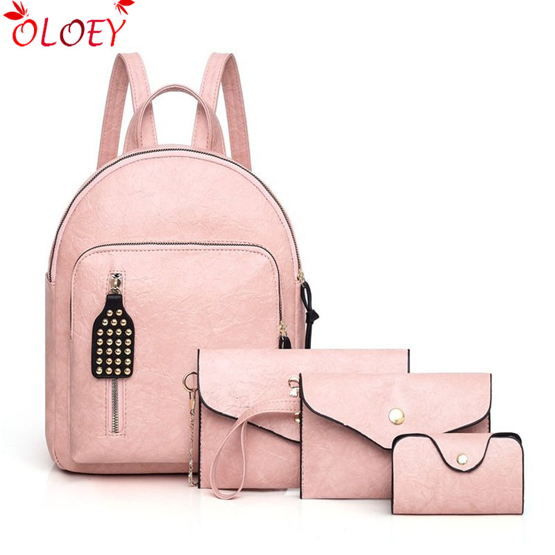 New Fashion Backpack quality 4pcs Set Women Backpack Leather School Bag Large Casual Preppy Style Female