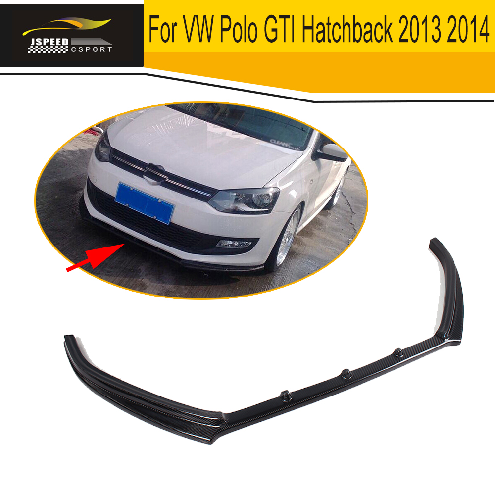 Carbon Fiber Front Lip Chin Spoiler Apron for Volkswagen VW Polo GTI Hatchback 2013 2014 A Style Car Styling deli 2018 nature wood colored pencils set 12 18 24 36 48 colors for drawing painting sketch lapis de cor school artist supplie