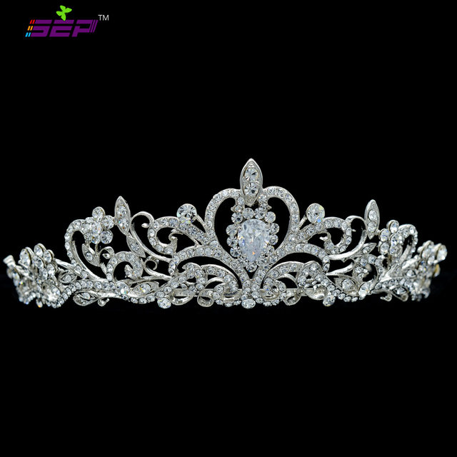 Clear Real Austrian Crystals Rhinestone Tiara Crown Bridal Bride Hair Accessories Wedding Jewelry JHA7762-1