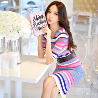 Dabuwawa Spring Elegant Knee Length Knitted Dress Half Sleeve Striped Sweater Dress Sexy Club Women Dress Slim Bodycon Dress