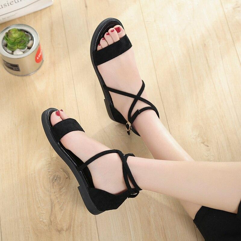 357f2ffec2415 2018 New Summer Women Sandals Flats Comfortable Lace-up Sandals Flip Flops  Casual Summer Shoes Fashion ...