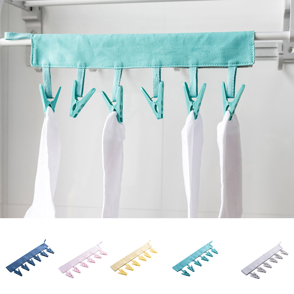 Canvas Hanger Towels Socks Underwear Laundry Drying Rack Bathroom Collapsible Travel Dryer PP Clips Hanger