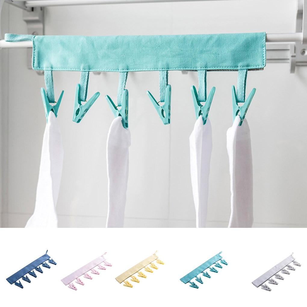 Canvas Hanger Towels Socks Underwear Laundry Drying Rack Bathroom Collapsible Travel Dryer PP Clips Hanger