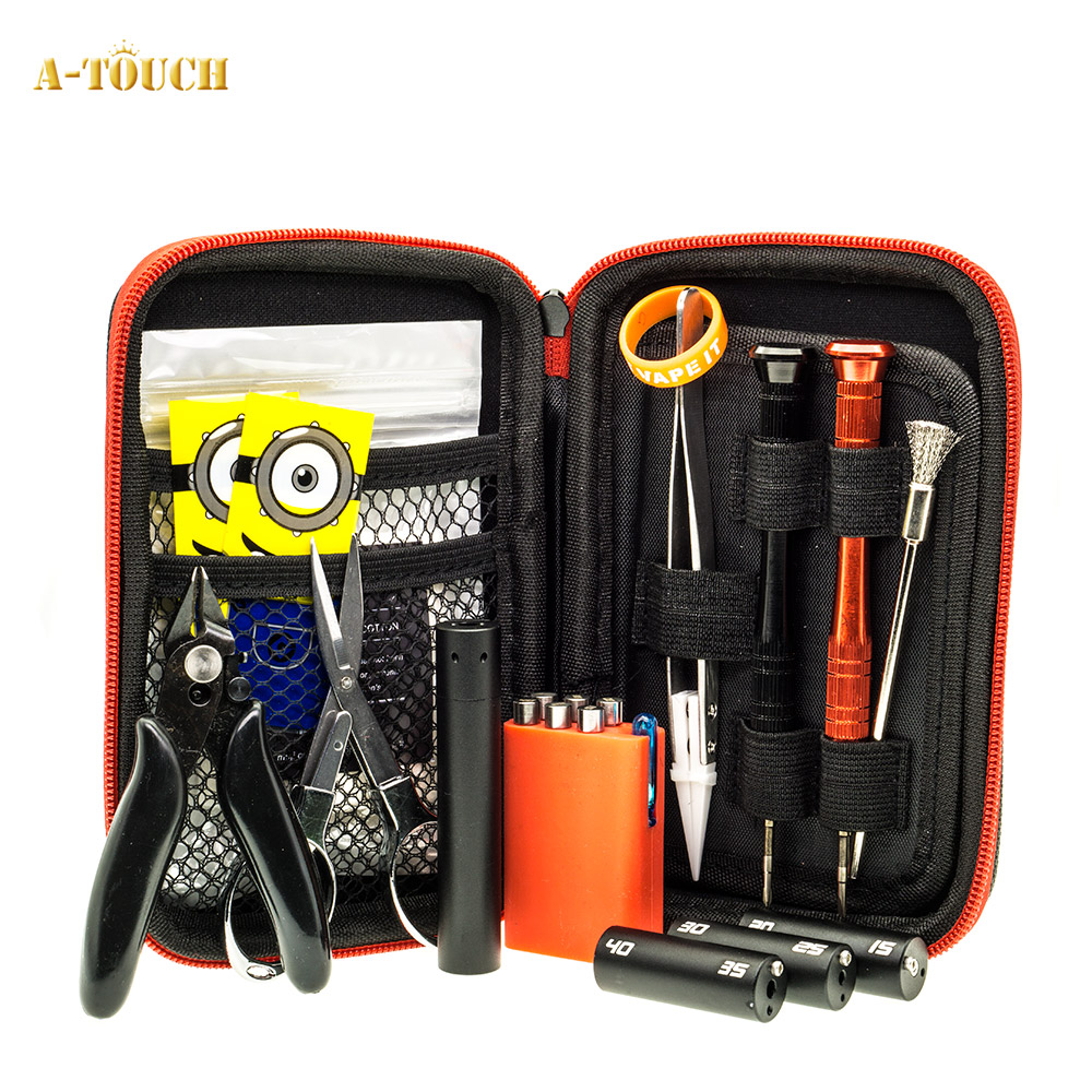 A-Touch Electronic Cigarette DIY Tool Kit Coil jig for RDA RDTA RTA E Cig Accessories Vape Bag Coiling Kit V4 VS Coil Mate Mini