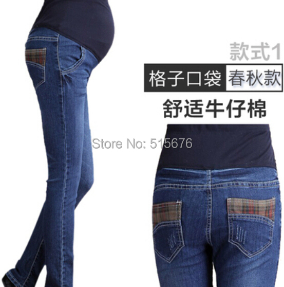 Maternity Jeans Plus Size Maternity pants maternity trousers slim clothes for pregnant women pants slim Blue maternity clothing