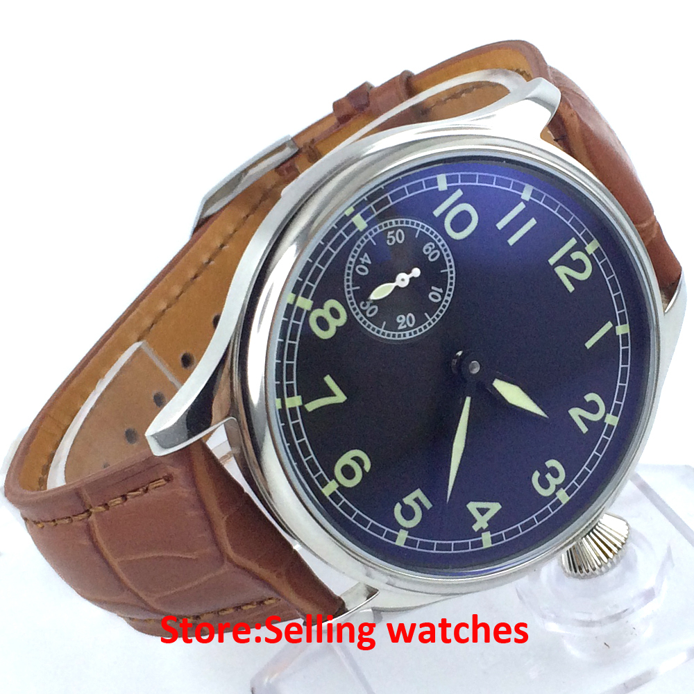 ФОТО Parnis 44mm Black sterile dial green luminous 6497 hand-winding men's watch