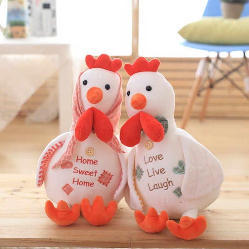 Rational Super Cute Chicken Plush Toys Couple Hen Cock Chickens Stuffed Dolls Creativity Baby Kids Friends Lovers Gift 1 Pair 40cm