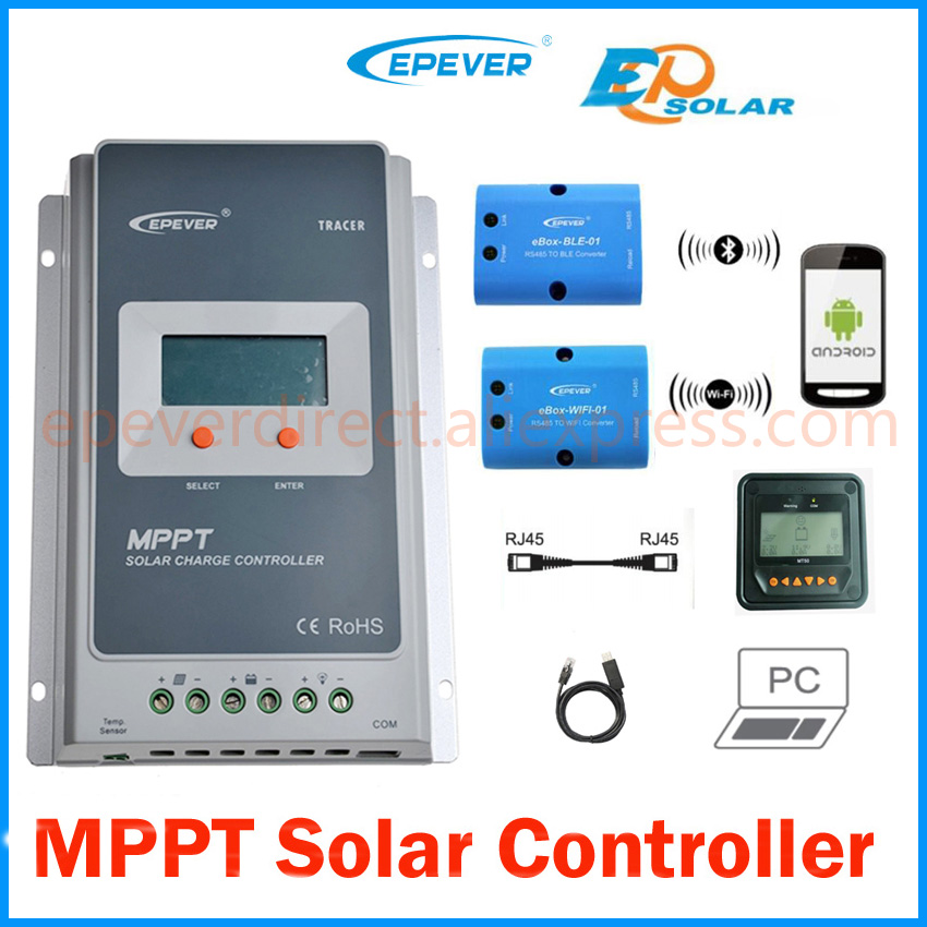 Tracer 4210A 40A MPPT Solar Charge Controller 12V 24V LCD EPEVER Regulator MT50 WIFI Bluetooth PC Communication Mobile APP WY mppt 40a 4210a solar charge controller 12v 24v automatic conversion lcd display max 100v regulator pc communication mobile