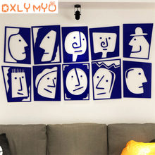Ins creative wall sticker personality DIY stickers room decoration cartoon face pattern acrylic 3d wall stickers wall decor цена 2017