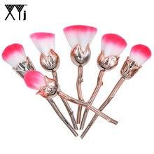 Romatic Rose Shape Makeup Brush Set Blush Powder Eyeshadow Concealer Foundation Brushes 6 Pcs/Set Flower Make Up