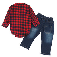 Meetcute 2017 Lente Herfst Mode Stijl Lange Rode Plaid Rompertjes + lange Cool Jeans voor Baby Jongens Hot Koop Baby Sets