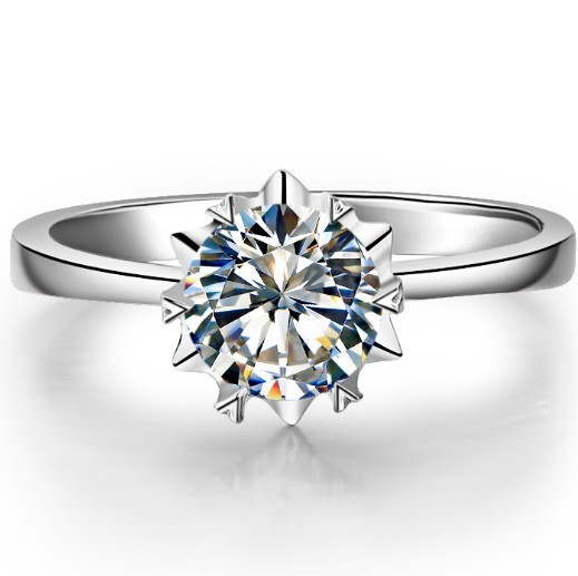 1CT 18K Gold Ring Snowflake Ring For Wife 18K White Gold Jewelry