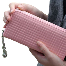 Frauen Mode Reine Farbe Kunstleder Clutch Fall Lange Handtasche Geldbörse