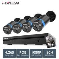 H. VIEW 8ch 1080 p CCTV Камера Системы PoE H.265 4 шт CCTV Камера Системы 2mp комплект видеонаблюдения PoE 48 V комплект видеонаблюдения