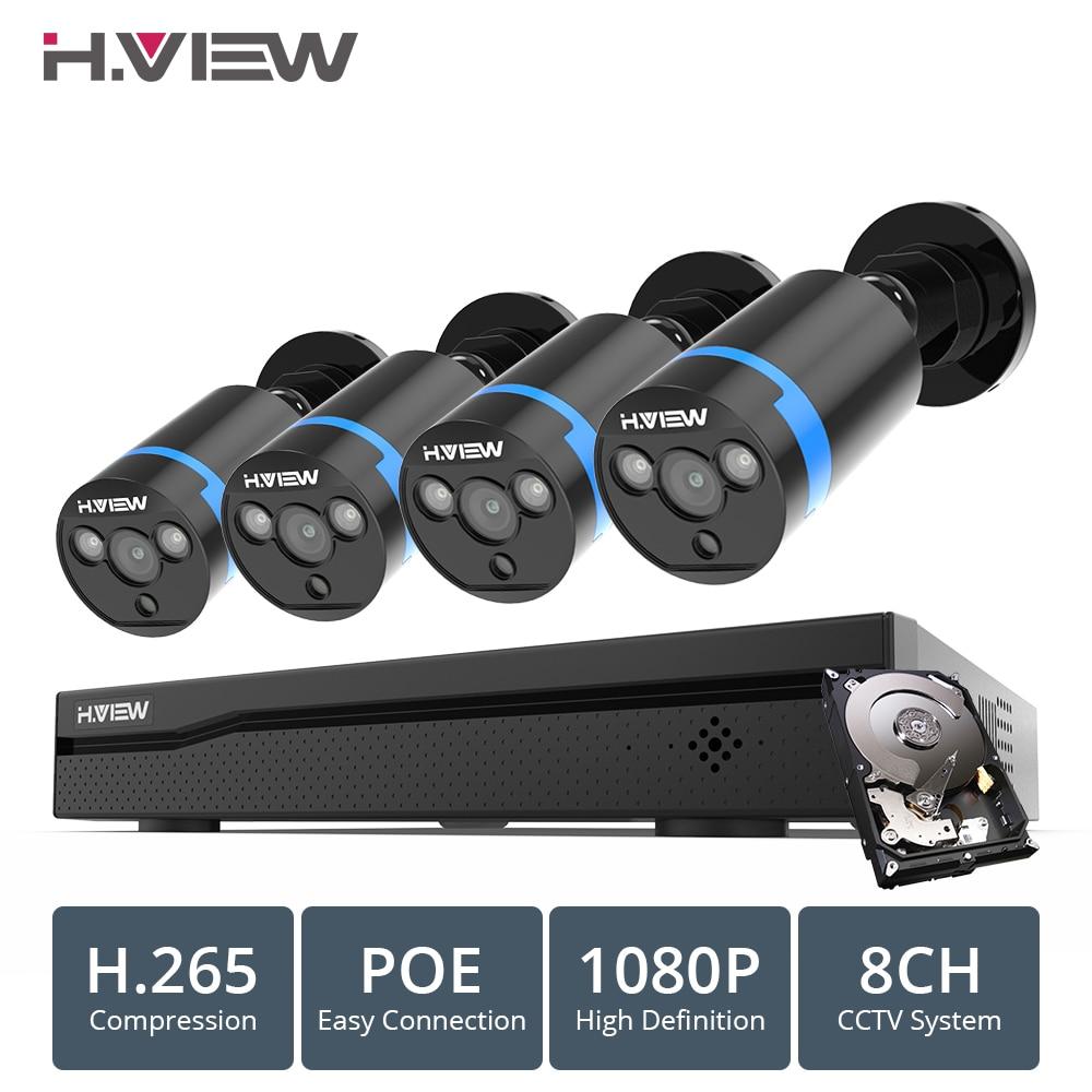 H. VIEW 8ch 1080 p système de caméra cctv PoE H.265 4 pièces système de caméra cctv 2mp Vidéo kit de surveillance PoE 48 V Vidéo kit de surveillance