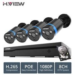 H. VISTA 8ch 1080 p Macchina Fotografica del CCTV Sistema PoE H.265 4 PCS Sistema di TELECAMERE CCTV 2mp Video Kit di Sorveglianza PoE 48 V Video di Sorveglianza Kit
