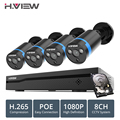 H ver 8ch 1080 p CCTV sistema de cámara PoE H.265 4 piezas sistema de cámara CCTV 2mp Video vigilancia Kit PoE 48 kit de videovigilancia V