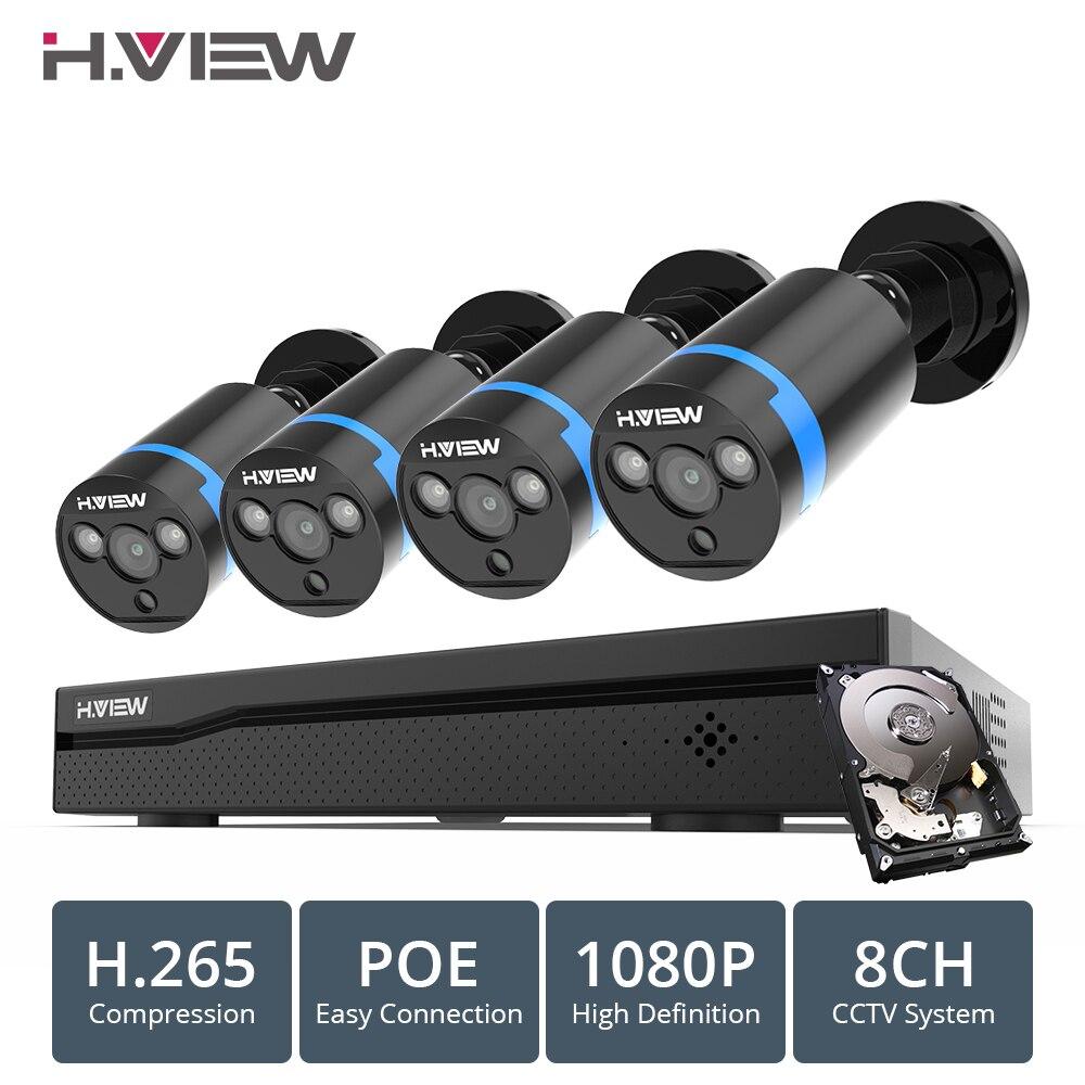 H. view 8ch 1080p sistema de câmera cctv poe h.265 4 pces cctv sistema de câmera 2mp kit de vigilância por vídeo poe 48 v kit de vigilância por vídeo