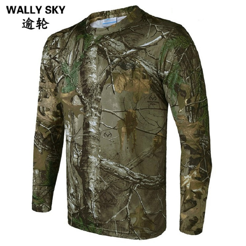 Man Hunting T-shirt Quick Dry Breathable Long Sleeve Camouflage Shirt Man Hiking T-shirt Tactical Military Ghillie Clothing Tops