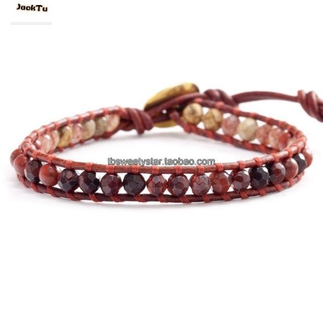 2017 adjustable tiger eyes garnet pictures stone leather wrap bracelet