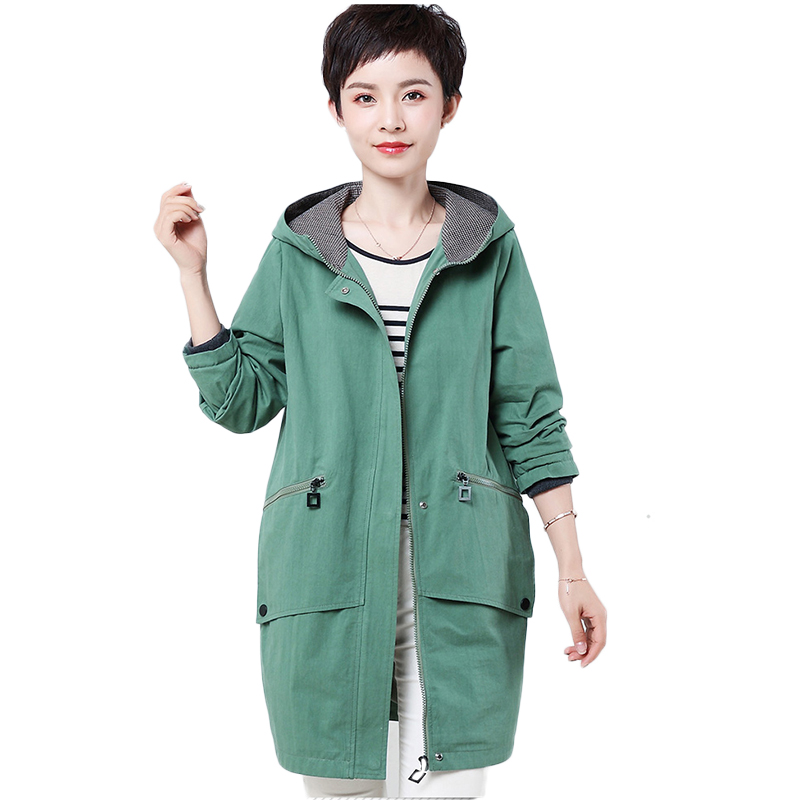 2019 Spring Autumn New Large Size 4XL Women's Clothing Middle-aged Windbreaker Outerwear Casual Hooded Long Loose   Trench   Coats