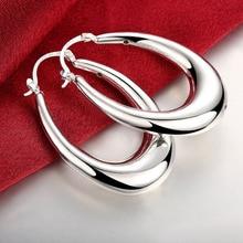 Smooth U Shape Creole Big Hoop Earrings for Women Silver European Brand Fashion Jewelry Gift  Dangler Brincos