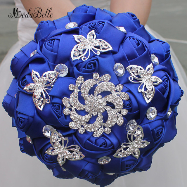 Modabelle Royal Blue Wedding Bouquets With Crystal Silk Roses ...