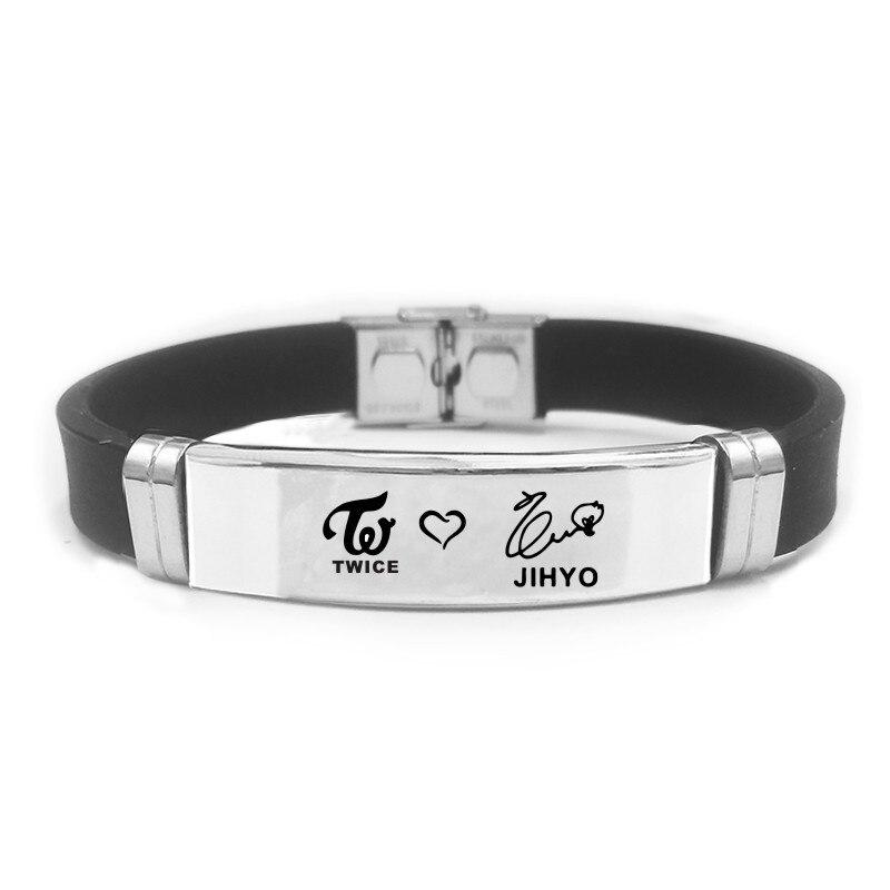 KPOP Fan TWICE Scouts Signal Twice Mina Momo Tzuyu Sport Bracelet Silicone Stainless Steel Friendship Wristband Bracelets