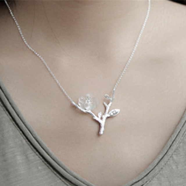 Lotus Fun Real 925 Sterling Silver Handmade Designer  Fine Jewelry Flower in the Rain Necklace with Pendant for Women Collier