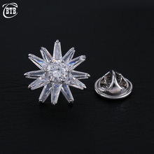 Small Flower Brooches For Women Silver Color Scarf Buckle Crystal Zircon Sunflower Brooch Pins Bridesmaid Accessories crystal sunflower brooches lapel pins for women corsage scarf dress decoration