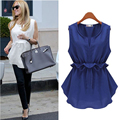 Summer Plus Size 5xl Women Blusas Sleeveless Ruffles Chiffon Shirt Peplum Blouses Beach Tunic Top Magliette Donna A562-923