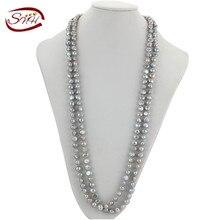 Snh nuevo genuine pearl 160 cm de agua dulce collar de perlas collar hecho a mano de color gris