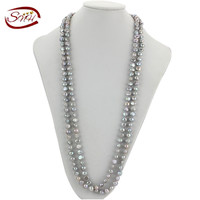 SNH New Natural Pearl Jewelry Necklace Handmade Genuine Pearl 160cm Grey Women S Wedding Gift